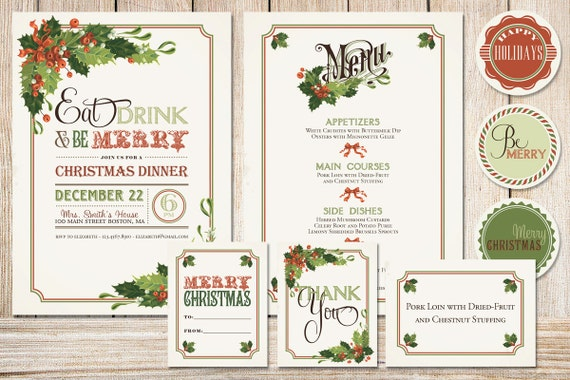 Printable Christmas Party Pack with Holly Boughs - Printable Christmas Invitation - Printable Christmas Menu