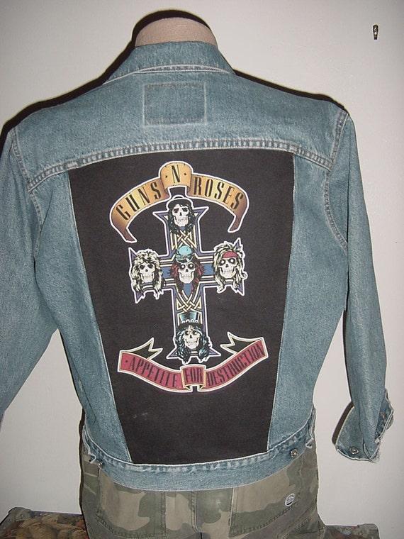 vintage Guns N Roses Levi's Blue Denim Jacket Large