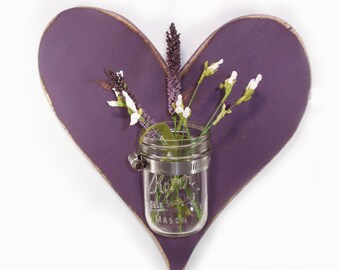 Handcrafted Wooden Heart wall Vase- Mason Jar Vase-Eggplant-Cottage Decor-Shabby Chic-Vintage Style-Country Decor-Rustic-Primitive