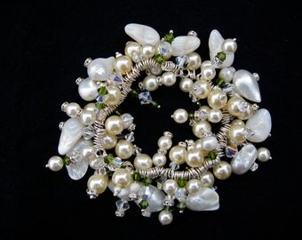 Mixed freshwater pearl and Swarovski crystal cluster bracelet