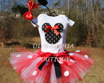 Minnie Mouse Tutu Set - Newborn - Baby Infant Toddler up to size 4T -  Birthday Set