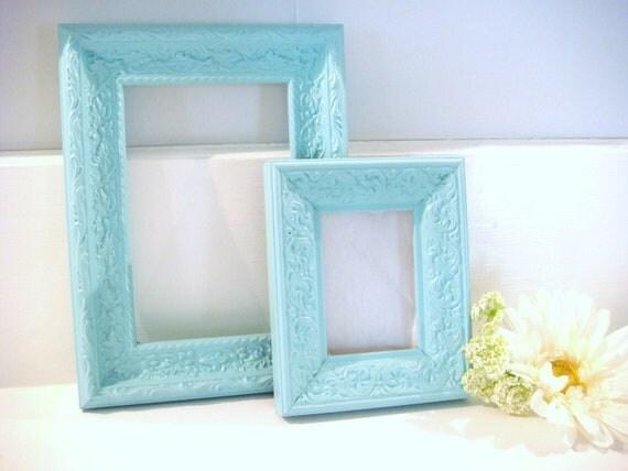 blue wood frames, shabby chic frames, shabby frames, tiffany blue frames