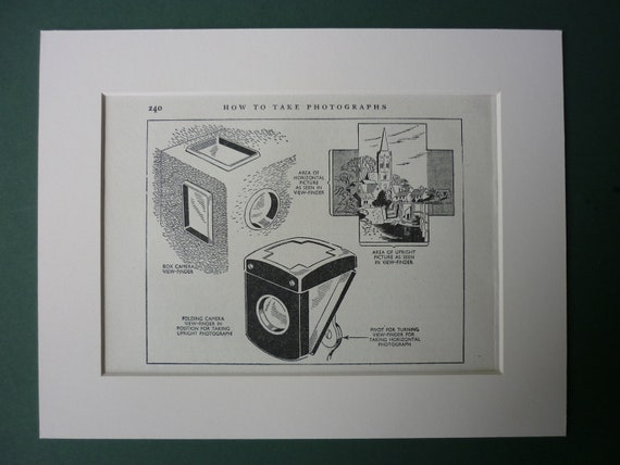 """1947 Print Of Photography Guide - 9"""" x 7"""" - Kodak Box Brownie - Photograph - Vintage - Retro - Camera - Children's - Ready To Frame - Matted"""