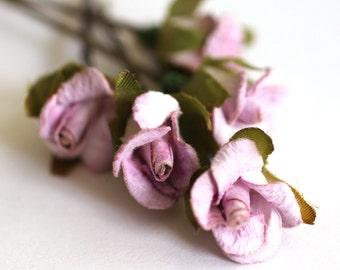 FairyTale Dream, Bridal Hair Accessories, Bohemian Wedding Hair Accessories, Sweet Lilac Hair Flower, Brass Bobby Pins - Set of 5