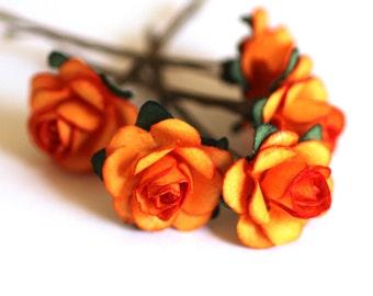 Autumn Rose, Bridal Hair Accessories, Wedding Hair Flower, Bridesmaid Hair Accessory, Orange Hair Flower, Brass Bobby Pin - Set of 5