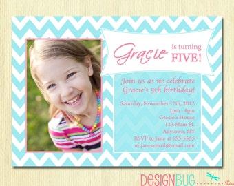 Girls Birthday Party Photo Invitation - Printable Chevron Invitation - 1, 2, 3, 4, 5, 6 year old birthday