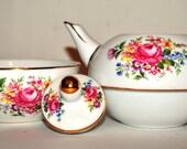 Vintage Floral Flowers China Tea Pot & Cup