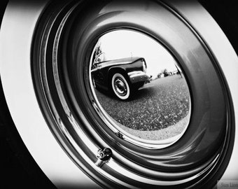 Vintage Car Tire, Black and White - Rustic Wall Art - Classic Car Art Prints - Retro Print - Vintage Car Photography - Garage Art - 8x10