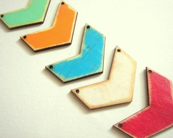 Shabby Wood Chevrons  45mm,Old Look Hand Painted Wood Chevron Tile for Jewelry,Geometric Jewelry,