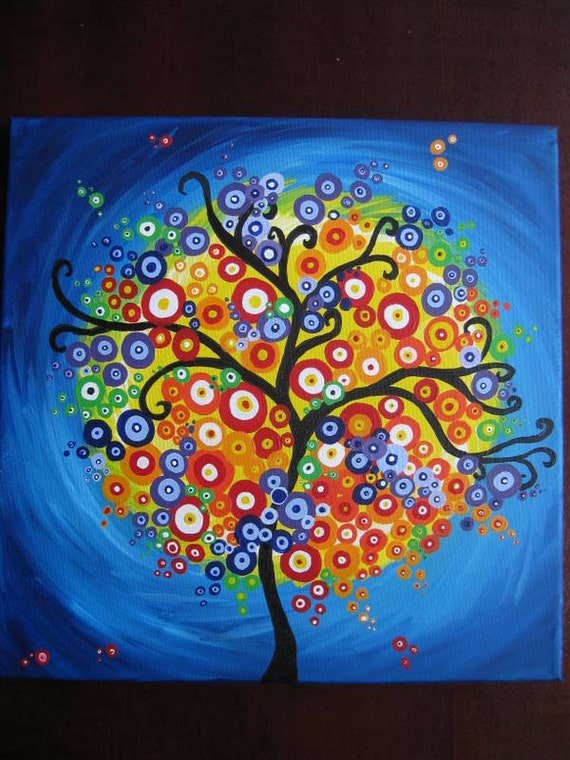 The Tree of Life Abstract Painting Original Acrylic Painting  Simple Tree Life Painting