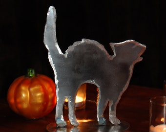 Metal scaredy Cat Halloween decoration