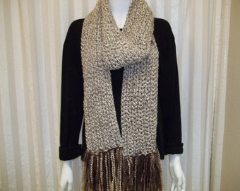 Long crochet  fringe scarf.       ready to ship