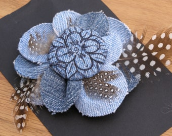 Denim and feather flower pin