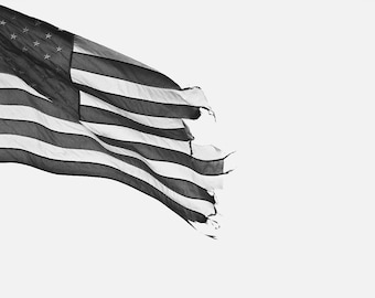 8 x 12 Black and White American Flag Photograph