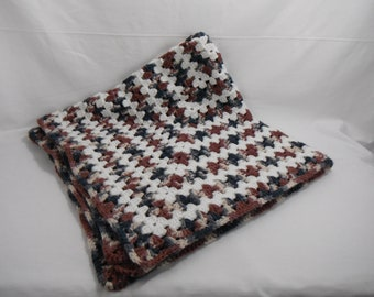 Vintage Crocheted Afghan Smoky Blue, Grey, Mauve and Purple Colors