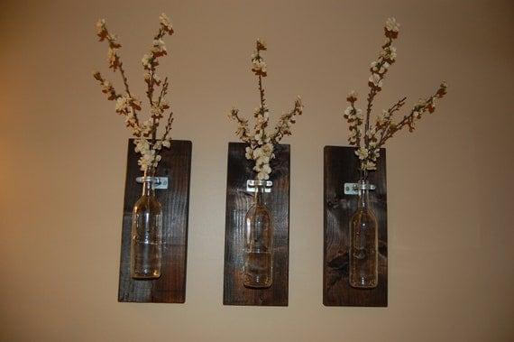 Wine Bottle Wall Art Wall Vase Handmade Home Accessories