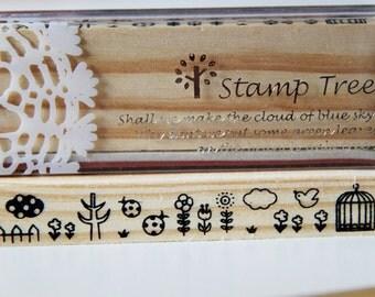 1 Wooden Rubber Stamp- Chirps. Nature. Bird Cage. Border. Patterns - Scrapbooking. Cardmaking. Tag Making. Stamping