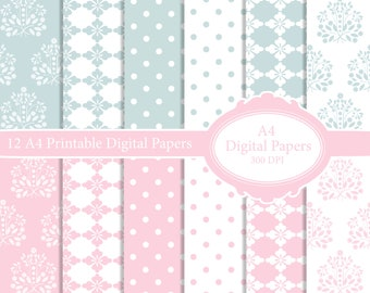 12 Digital Printable Backing Papers for scrapbooking, papercrafts, card making, Invitations, wedding, party, baby shower, Damask Elegant