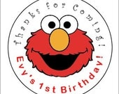 """Elmo 2"""" Round Lollipop Custom Personalized Party Favor Labels Stickers"""