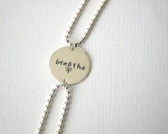 "Personalized Bracelet, Sterling Silver, 3/4"" disc"
