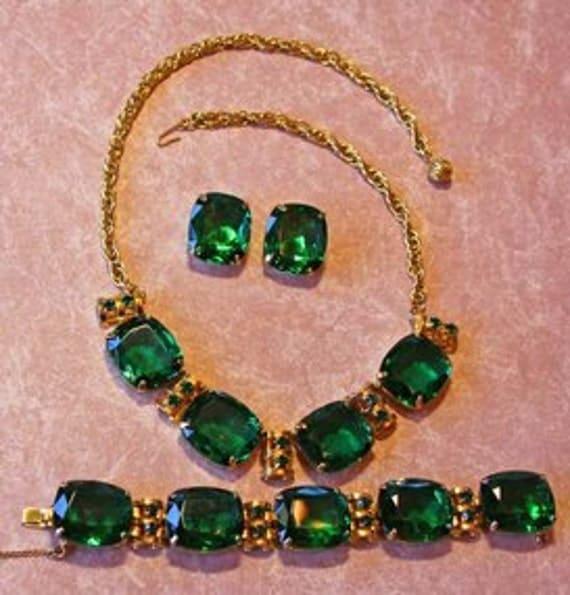 Unsigned Kramer Gigantic Rhinestone Emerald Parure