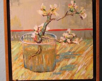 """Van Gogh """"Apple Blossom in Vase"""" Original Acrylic Copy"""