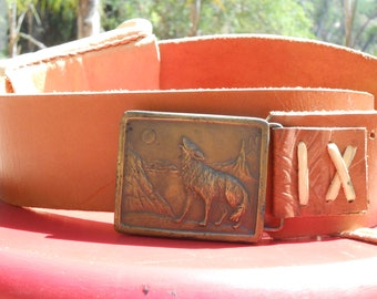 Indiana Metal Craft belt buckle with leather belt and pouch 1976