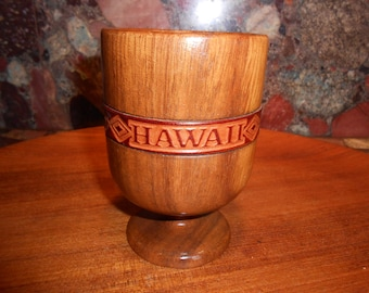 Vintage Hawaii Wood Goblet with Leather Band