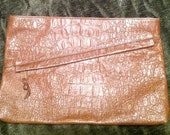 Vintage Toni Genuine Leather Brown Clutch Handband