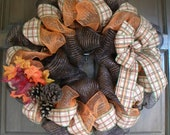 Fall Deco Mesh Wreath in Brown and Orange
