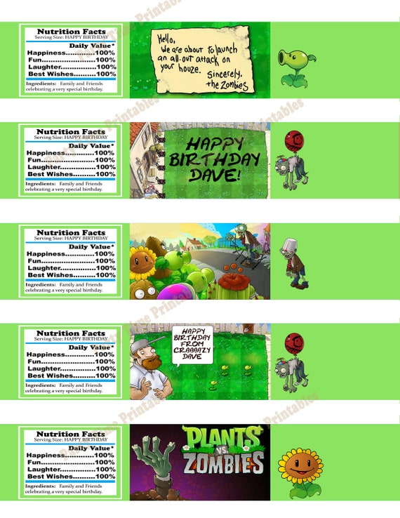 items similar to plants vs zombies water bottle label birthday party printable plants vs. Black Bedroom Furniture Sets. Home Design Ideas