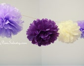 6 Small 10'' Tissue Paper Pom Poms - choose your colors - Fast shipping - for Baby Shower / Birthday Party / Wedding / Room Decoration