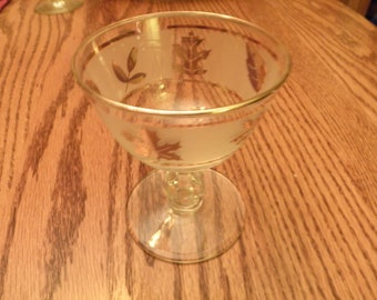 Set of Four Golden Foliage Sherbets by Libby