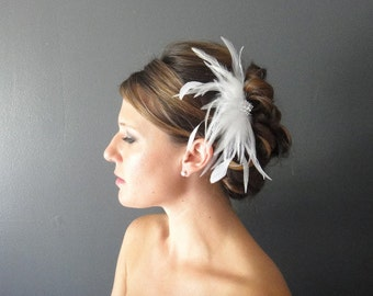 Bridal Feather Hair Piece, Bridal Feather Fascinator, White Feather Bridal Fascinator