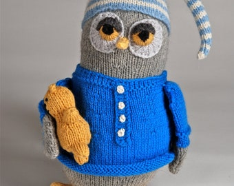 Handmade made to order Night Owl-Hand Knitted Plush Toy