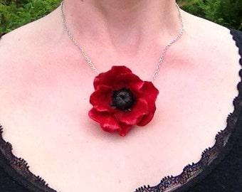 Red Poppy Pendant Handmade
