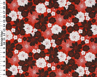 SALE - Black and White Flowers on Red Cotton Home Dec Fabric - One Yard - 44 inch Home Decor Fabric
