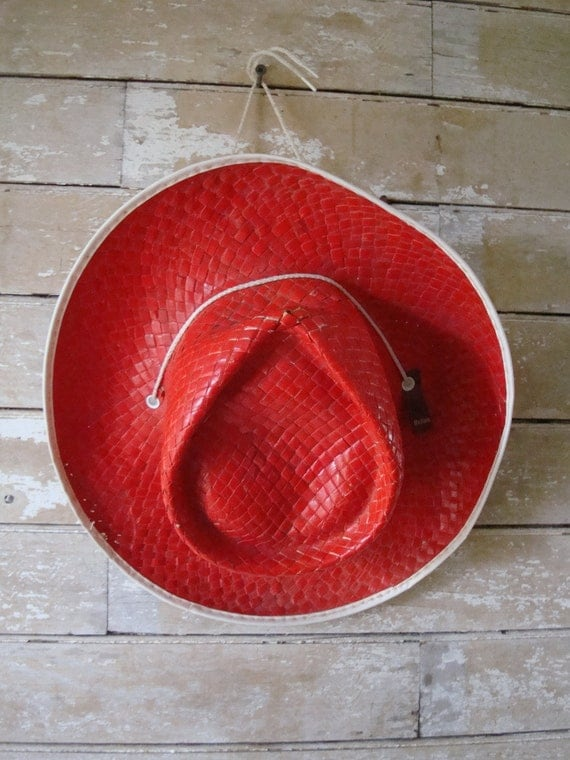 Vintage Kids Straw Cowboy Hat Medium