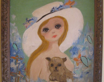 SALE Margaret Keane -Walter Keane Inspired Original Painting 60s Big Eyed Girl with Dog