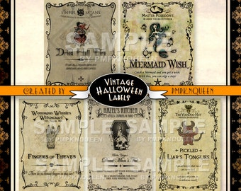Wide Jar Halloween Label Set
