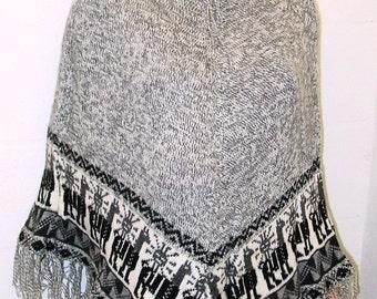 Peruvian 100% Alpaca Wool Poncho Cape Top Very Soft Gray