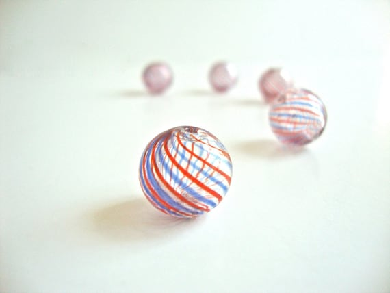 2 pcs Handblown Hollow Glass Beads - Round Clear with Blue and Red Stripes, 0.5 inches or 13mm, Blown Glass Beads