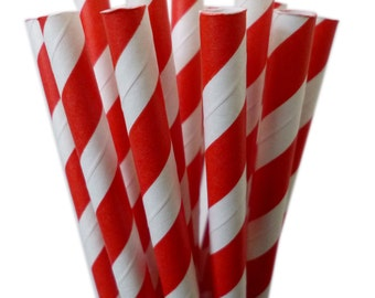 Paper Straws // BRIGHT RED Paper Straws // Drinking Paper Straws // Stripe Paper Straws // Party Paper Straws