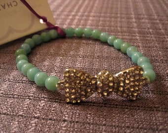 Bracelet Turquoise Color Bead and Pave Crystal Bow 0003