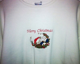 Embroidery Sweatshirt - Merry Christmas Santa - Holiday Sweat Shirt