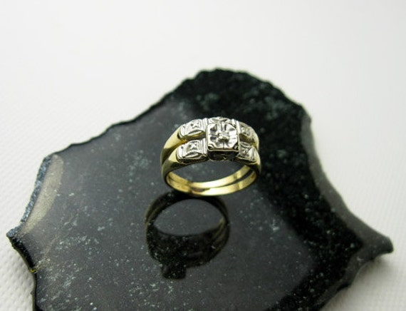 HOLD for Elin Diamond Wedding Ring Set in Two Tone 14K Gold, USA ca. 1930.