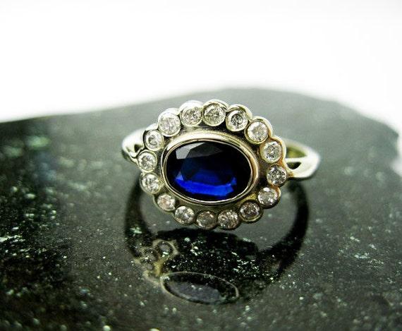 SOLD Msc 690 Vintage Sapphire & Diamonds White Gold Ring, USA  ca.1970