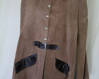 Brown suede and leather capelet