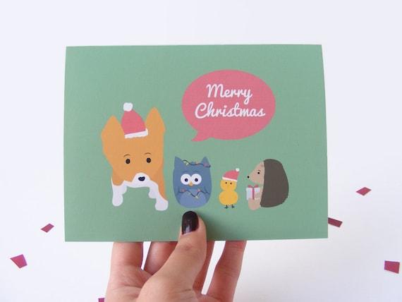 Corgi & Friends Christmas Time Card - Set of 2