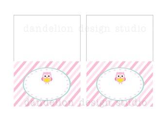 PRINTABLE Fancy Tent Tags - Owl Party Collection - Dandelion Design Studio